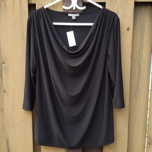 NWT Roz & Ali top black, 3/4 sleeves, 2X